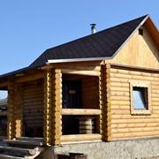 Деревянная баня из оцилиндрованного бревна фото