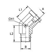 Угловой адаптер 45° уплотнение тип С внутр./наружн. резьба фото