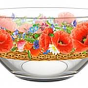Салатник стеклянный 250мл Маковое поле фото