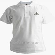 Рубашка поло Suzuki белая вышивка серебро фото