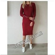 Женское теплое платье с люверсами на рукавах, 2 цвета фото