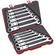 Набор универсальных ключей с двойным карданом и трещоткой, 12 предметов, метрический фото