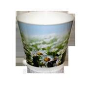 Горшок для цветов из пластика Крит Ромашки фото