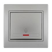Кнопка звонка с подсветкой Mira цвет металлик фото