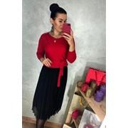 Женский оригинальный костюм с юбкой в расцветках. Д-60-1118 (0140) фото