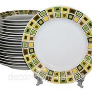 Набор тарелок 18 предметов 1258 квадратики 00735 фото