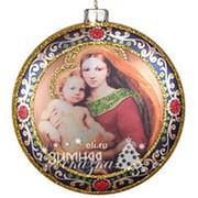 Елочное украшение-медальон «Мадонна с младенцем», 10 см, стекло, подвеска (Holl) фото