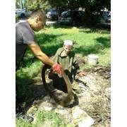 Ручная чистка канализационных колодцев. фото