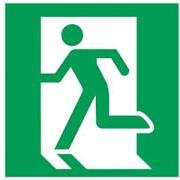Эвакуационный знак, код Е 01-01 Выход здесь (левосторонний фото