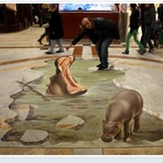 Объемные рисунки - 3d изображение.3d граффити на фасадах,3d рисунки на асфальте,Объёмные 3D рисунки на транспорте фото