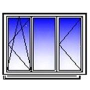 Окно ПВХ трехстворчатое 2050х1400 (кирпич,п/о+гл+п) фото