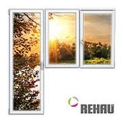 Балконный блок ПВХ Rehau 2100х2100 мм 2-ЛГ-ПО 3 стеклопакет фото
