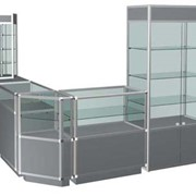 Изготовление стеллажей и витрин из алюминиевого профиля фото