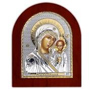 Икона Серебряная Божией Матери Казанская с позолотой Silver Axion 110 х 130 мм фото