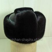 Шапка-ушанка из меха норки с натуральной кожей фото