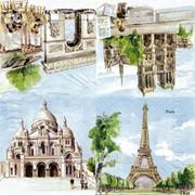 Салфетка для декупажа Достопримечательности Парижа фото
