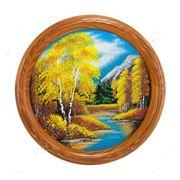 Панно декоративное на тарелке Осенний пейзаж Д-40см фото