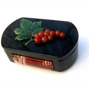 Шкатулка черная каменная Смородинка фото