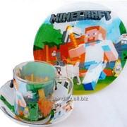 Набор стеклянный детский 3 пр. Микс 14 миска, тарелка, чашка 250 мл фото