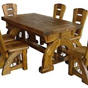Комплект мебели из дерева. Стол и 6 стульев. фото