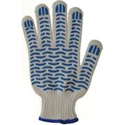 Перчатки трикотажные х/б с ПВХ № 63 класс (4-х нитка) волна фото
