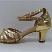 Туфли для бальных танцев, каблук 5 см (золото)  фото