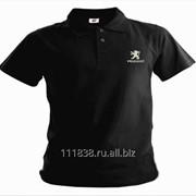 Рубашка поло Peugeot черная вышивка белая фото