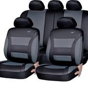 Чехлы Mitsubishi Lancer 03 S черный к/з серо-синий жаккард, бордо флок Экстрим ЭЛиС, черный аригон БРК фото