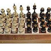 Шахматы-нарды классические дерево - орех с национальными узорами фото