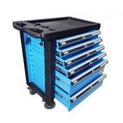 Тележка инструментальная 6-ти полочная (синяя) с пластиковой защитой корпуса + перфорация фото