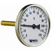 """Термометр биметаллический с погружной гильзой Ø 63мм/ L100 мм/120С/1/2"""" WATTS фото"""