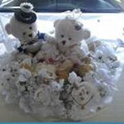 Мишки Тедди, изготовление украшений для свадебных автомобилей, цветочное оформление свадеб. фото