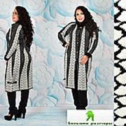 Женское вязаное пальто черно-белое большие размеры 52-56 фото