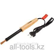 Электропаяльник Зубр Мастер с деревянной рукояткой и долговечным жалом, форма клин 60Вт Код: 55405-60 фото