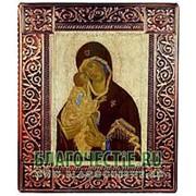 Благовещенская икона Донская Богородица, копия старинной иконы в окладе из чеканной меди Высота иконы 24 см фото