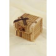Шкатулка плетёная соломенная ( кубик ), натуральный/шоколад фото