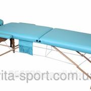 Стол массажный деревянный 2-х сегментный Body Fit Голубой фото