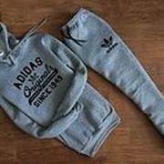 Мужской спортивный костюм Adidas Originals, серый, с капюшоном фото