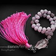 Четки, розовый кварц, хрусталь, шелк фото