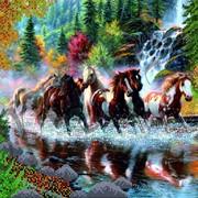 Схема для вышивки бисером-Табун лошадей(КМР 3020) фото