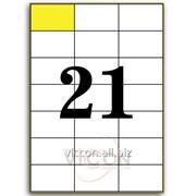 Этикетки самоклеящиеся белые, 21 на листе. размеры: 70 x 42,4 mm EA7021 фото