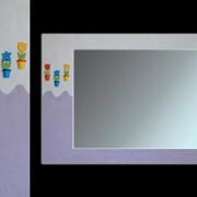 Зеркало ТМ «MirAbeL» детское «Малятко» 450*750 небольшое нежно-сиреневое зеркало. Декорированная рама из натурального дерева фото