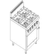 Плита газовая 4-х конфорочная Kogast с газовой духовкой на GN 2/1 PS-T49/1 фото