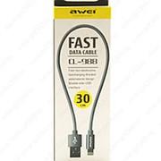 USB Data кабель Awei CL-988 Lightning 30см (серый) фото
