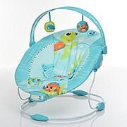 Качалка шезлонг с вибрацией и музыкой: громкость и спинка регулируется, две игрушки фото