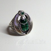 Перстень серебряный Скарабей с малахитом и изумрудом КС 001 фото