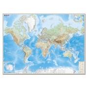 Карта настенная Мир. Обзорная карта. Физическая с границами, М-1:15 млн., разм. 192х140 см, ламин. фото