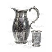 Набор для напитков Кувшин серебряный со стаканами фото