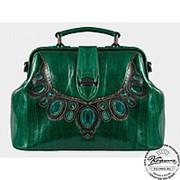 """Женская кожаная сумка-саквояж """"Коллиер"""" (зелёная) фото"""
