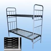 Кровать металлическая армейская 2 - ярусная ГОСТ 2056-77, сетка панцирная фото